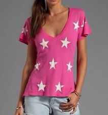 Wildfox All Over Star Print  V neck Tee - Size M - NWT