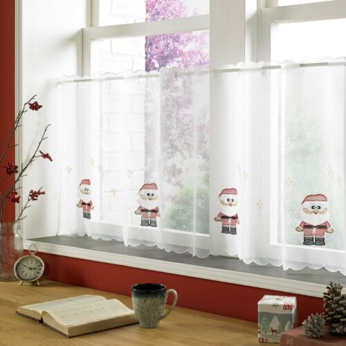"CHRISTMAS SANTA CLAUS  VOILE CAFE NET CURTAIN PANEL~ Available In 18/"" /& 24/"" Drop"