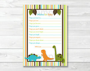 Details About Dinosaur Friends Printable Baby Shower Wishes For Baby Advice Cards
