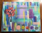 "Original Modern 8 x 10"" Abstract Painting Art Acrylic Multi-Color on Canvas"