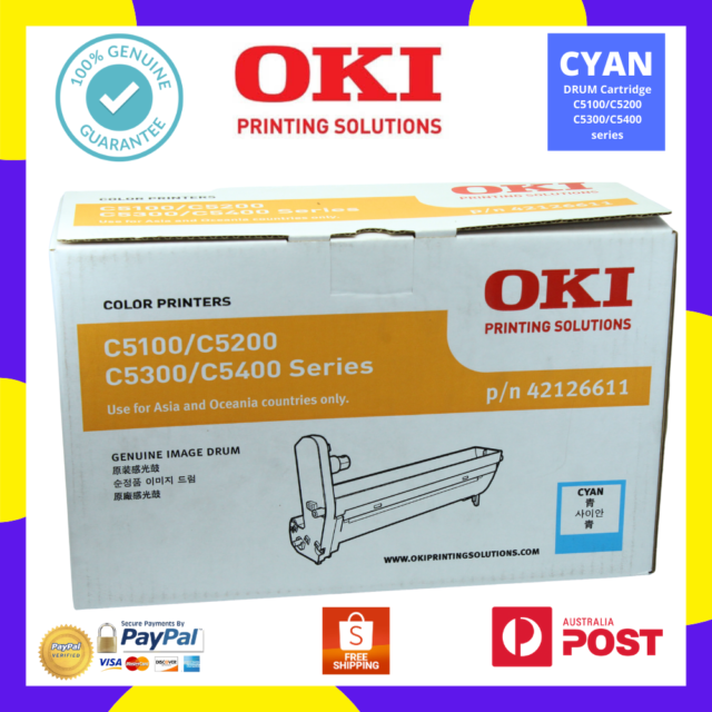 OKI Genuine 42126611 CYAN/BLUE Printer DRUM Cartridge C5100/C5200/C5300/C5400