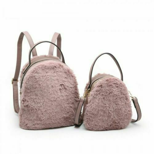 New Women/'s 2 In 1 Bag Set Stylish Faux Fur Backpack And Cross Body Grab Handle