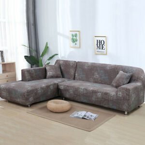 2pcs sofa covers polyester fabric stretch slipcovers for l sectional rh ebay com