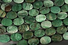 """AFRICAN TURQUOISE JASPER 25x18MM OVAL BEADS 15.5"""" STRAND GREEN WITH RED VEINS"""