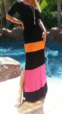Maya Antonia-PLUS SIZE-Slimming Black-Hot Pink-Orange Color Block Maxi  Dress | eBay