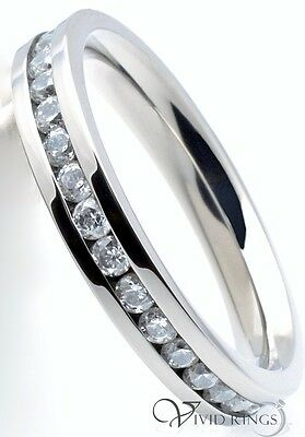 Womens Stainless Steel Eternity Clear CZ Ring Flat Band 3.5MM Size 4 to 10.5