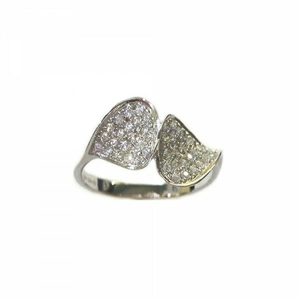 White gold 18k 750 1000 Leafs with white cubic zirconia woman ring