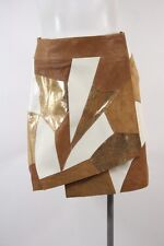 Rodarte & Other Stories Tan Gold Leather Suede Patchwork Wrap Skirt Sz 6/36 EUC