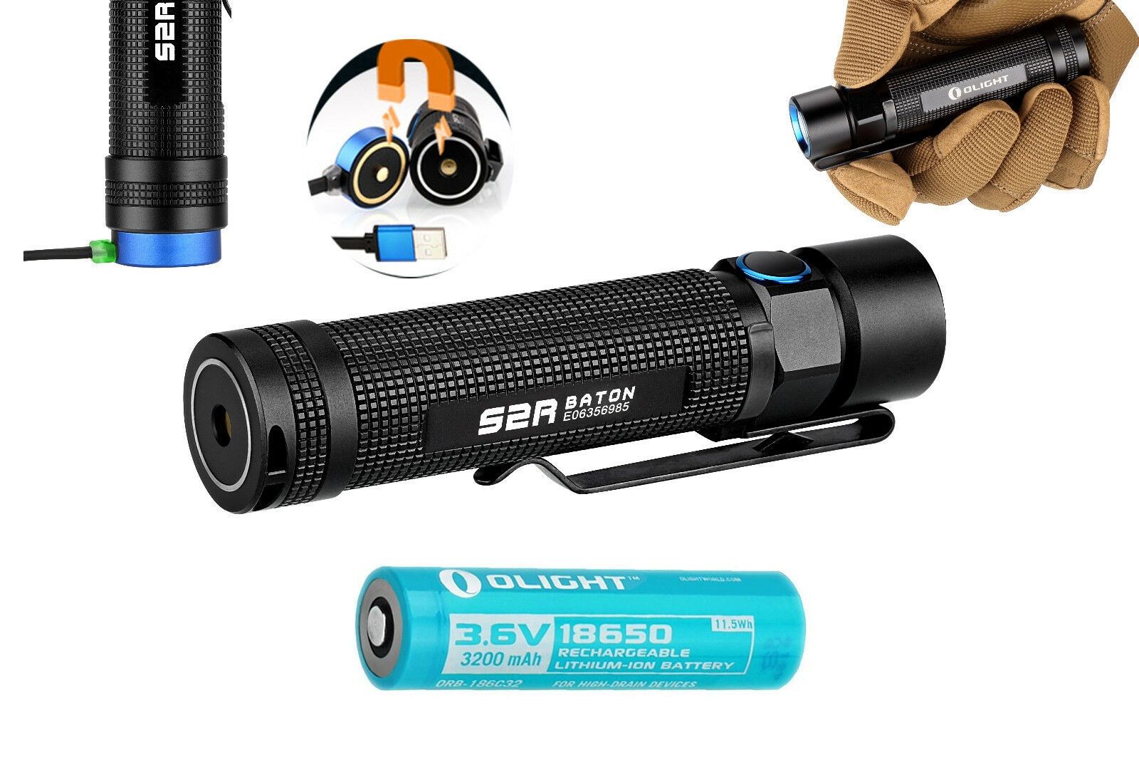 Olight S2R Baton 1020 Lumen 18650 Rechargeable LED Flashlight S1 S1R S2 Upgrade