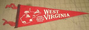 """Vintage WEST VIRGINIA 13.5"""" 4-Tassel RED PENNANT Where the North Meets The South"""