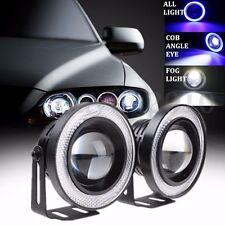2x 3.5'' Angel Eyes LED Halo Rings NEBELSCHEINWERFER COB Weiß+Blau 14W 3200LM
