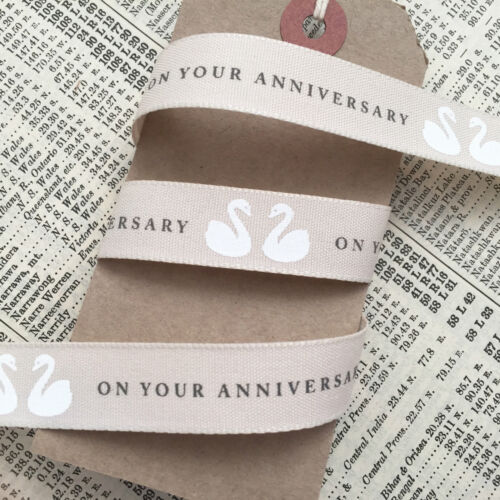 Wedding Craft Cards Cakes 1m 20m roll On Your Anniversary 15mm Cream Ribbon