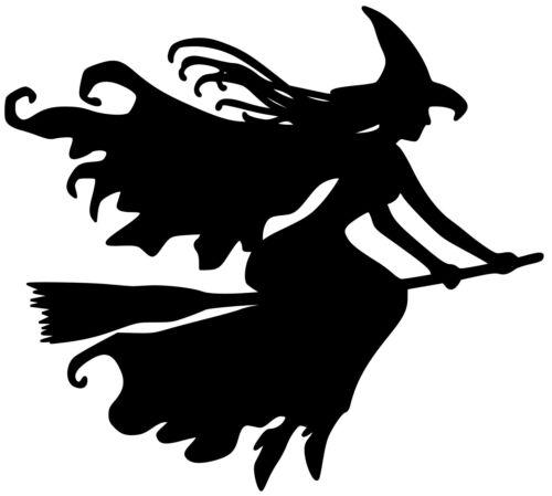 Witchcraft Halloween Wicca WITCH on BROOMSTICK Vinyl Sticker Die Cut Decal