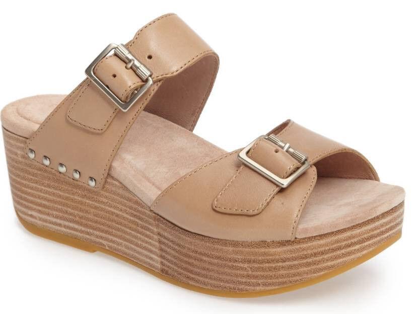 NEW DANSKO Selma Buckle straps Platform Wedge Sandal Sand Leather 41 US 10.5-11