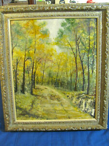 Fall Foliage Pathway in Woods - Vintage Oil on Board Impressionistic Painting