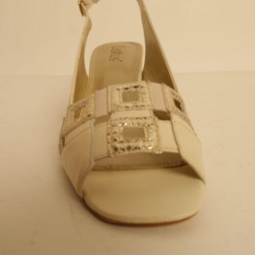 Leather pour Sandales en à moyen compensé à Zabrina femmes talon ivoire talon Lotus 6AB5wRqx