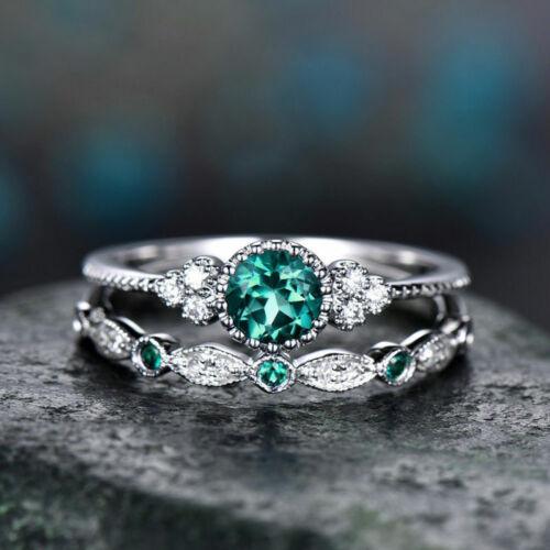 2pcs//set Women/'s Wedding Set Rings 925 Silver Round Cut Emerald Ring Size6-10