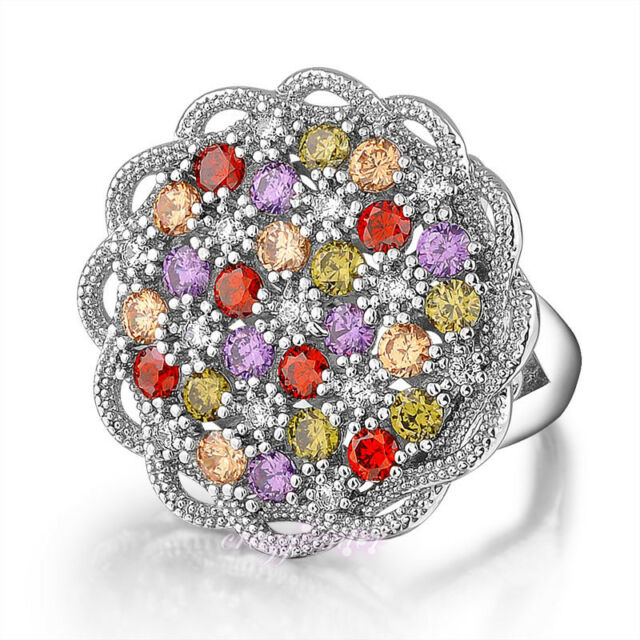Multi-color Austrian crystal cocktail ring Statement flower Jewelry Gift R984