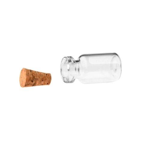 50Pc//100pcs//1000pcs 0.5 Ml Mini Verre Clair Bouteilles En Verre Vides bocaux avec bouchon