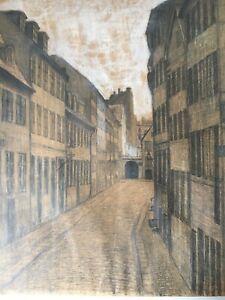 Stadtansicht-Strasse-Anonym-unbekannt-Bleistift-Weiss-Zeichnung-46-x-36-cm