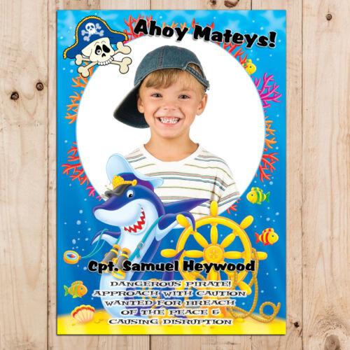Personnalisé Garçons Filles Pirate Happy Birthday Party Poster Bannière N11 tout âge