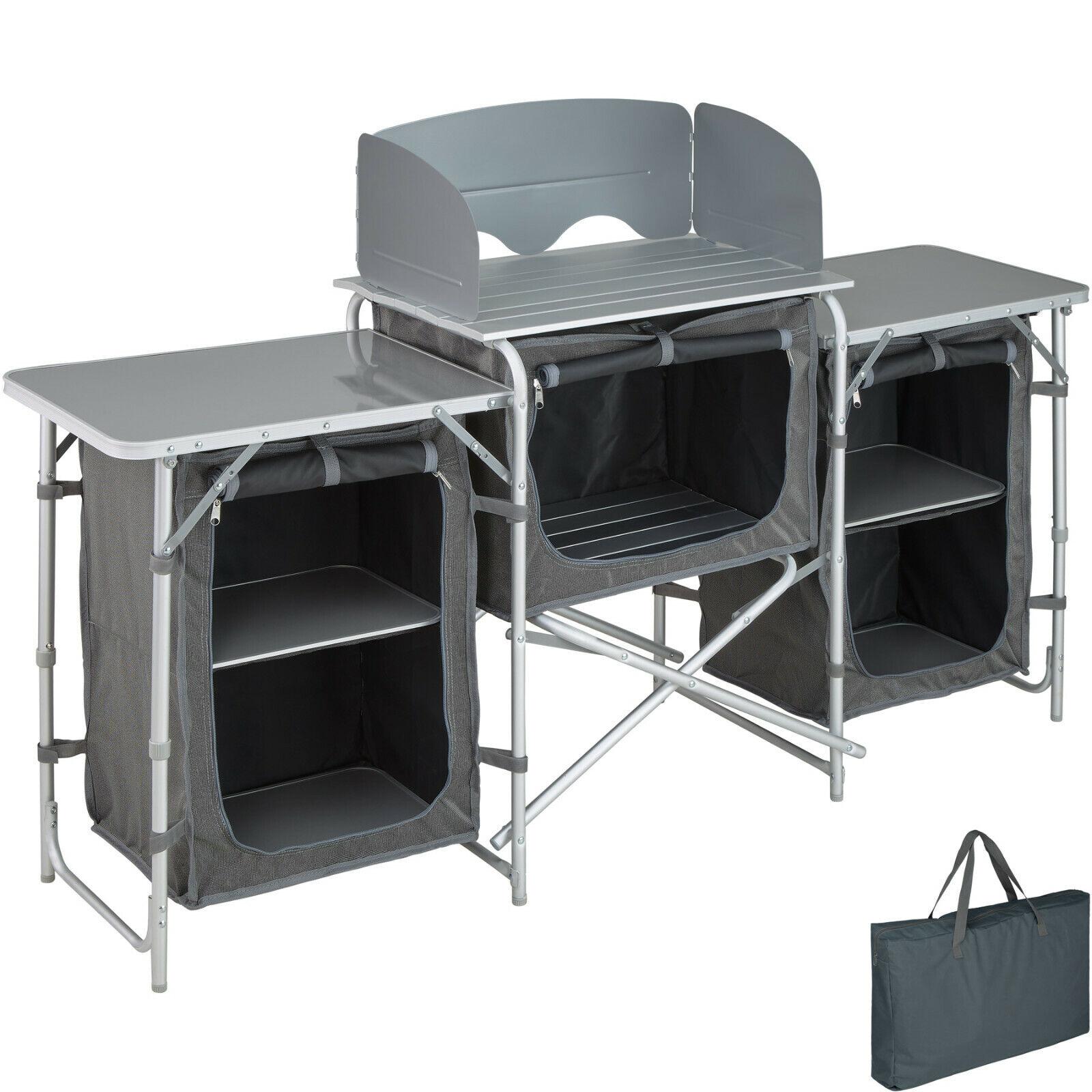 Cocina de Camping Aluminio Compartimentos Plegable Paravientos 164,5x52x104cm