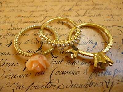 Gold Pearl Crystal Large Rose Flower Three Stackable Ring Women Jewellery Size K