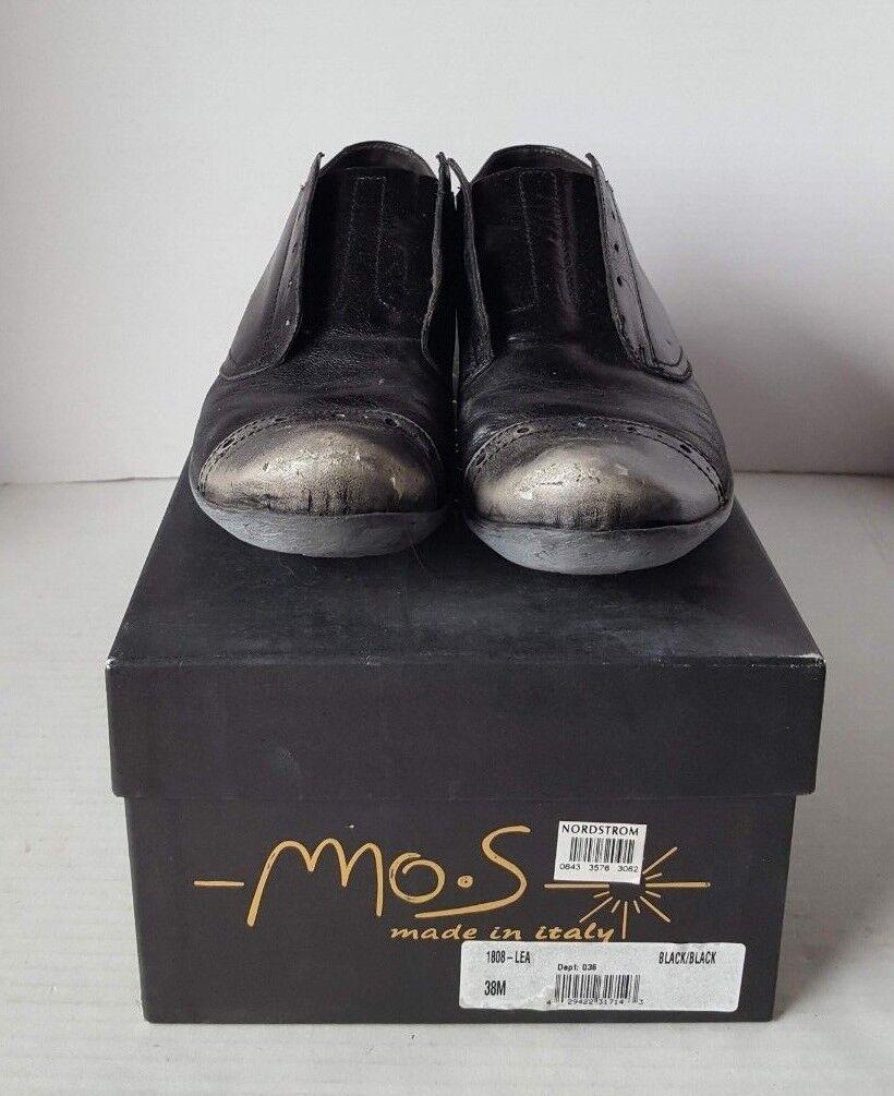 Lunes S para mujer hecho a mano en Italia con aspecto envejecido de extremo de ala Zapatos Negro gris 38