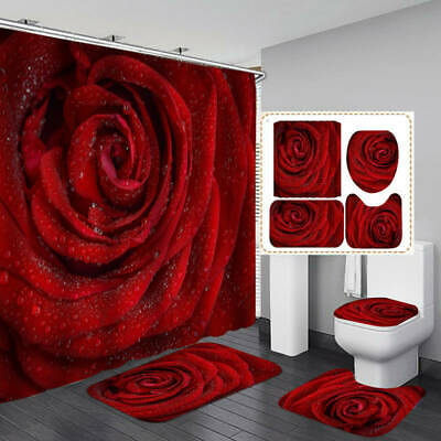 Red Rose Flower Shower Curtain Bath Mat Toilet Cover Rug Bathroom Decor Set