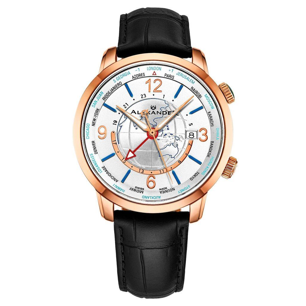 Alexander Journeyman Men's World-Timer Swiss Made Watch Sapphire Crystal 40 MM   Ebay