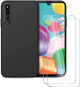 Pour SAMSUNG Galaxy A41 Coque arrière Gel Silicone NOIR + 2 Verre Trempé