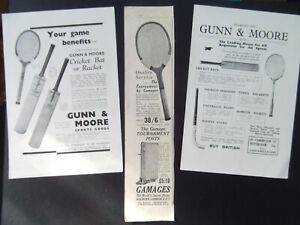 TENNIS-RACKETS-3-ORIGINAL-OLD-VINTAGE-ADVERTS-DATED-1920-039-s-GAMAGES-GUNN-amp-MOORE