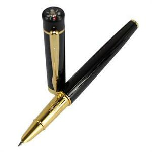 JINHAO-001-BLACK-LACQUERED-AND-GOLD-HOODED-FINE-NIB-FOUNTAIN-PEN-COMPASS-NEW