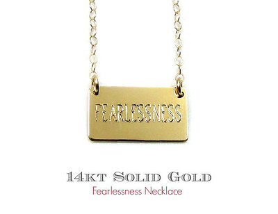 14KT Solid Gold Personalized Engraved Nameplate Necklace, Small Rectangle Bar