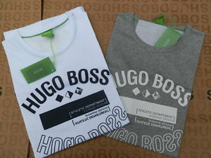 NEW-HUGO-BOSS-MENS-DESIGNER-WHITE-GREY-ATHLETIC-SPORTS-GYM-JEANS-T-SHIRT-LARGE