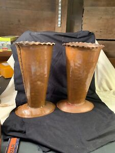Nice-Pair-Of-2-Large-Hand-Made-Vintage-Copper-Horn-Trumpet-Flower-Vases-12-Tall
