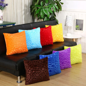 Image Is Loading 18x18 034 Soild Plush Pillowcase Round Stripes Sofa