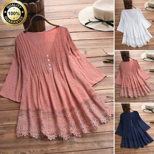 Womens-Cotton-Linen-3-4-Long-Sleeve-Lace-V-Neck-Tops-T-Shirt-Blouse-Plus-S-5XL