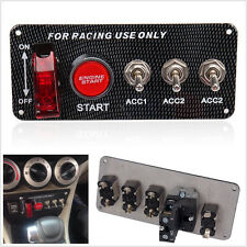 Racing Car Ignition Lite Carbon Fibre Panel Engine Start Push LED Button Toggle