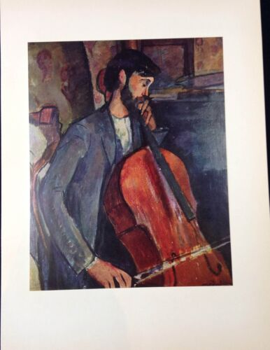 "1953 Vintage Full Color Art Plate /""THE CELLIST STUDY /"" by MODIGLIANI Lithograph"