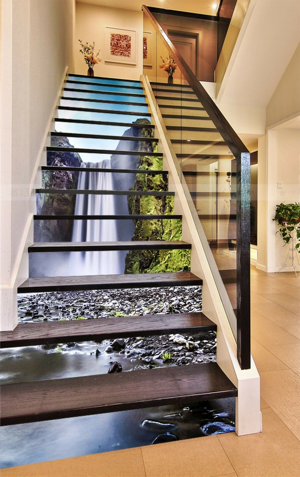 3D Valley Falls 739 Stair Risers Decoration Photo Mural Vinyl Decal Wallpaper AU