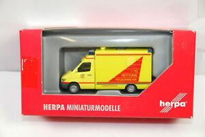 Bon CœUr Herpa Mb Sprinter Retour Au Travail Sauvetage Pompier Modèle De Voiture 1:87 ( 100% D'Origine