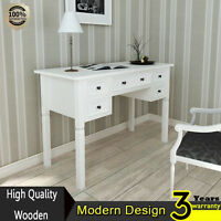 White Writing Desk with 5 Drawers Made of Pine for Bedroom and Office Paint New