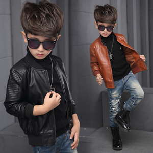 2018 Toddler Kids Boys Leather Jackets Slim Motorcycle Leather Biker