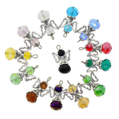 12pcs Mix Angel Wings Charms Pendants Faceted Glass Beads for Jewelry Making