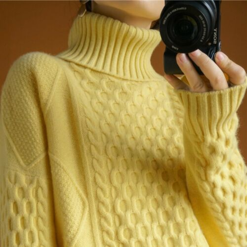 Women 100/% Cashmere Sweater Turtleneck Knitted Pullovers Warm Thickened Winter L