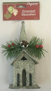 Christmas-Tree-Church-Ornament-Silver-Glitter-6x3in-Xmas-Tree-Hanging-Decoration