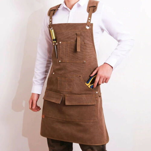 Adjustable Leather Woodworking Apron Heavy Duty Waxed Canvas with Tool Pockets