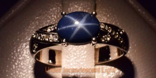 8x6mm Dark Blue Natural 6 Ray Star-Sapphire Ring With Topaz in 925 Silver