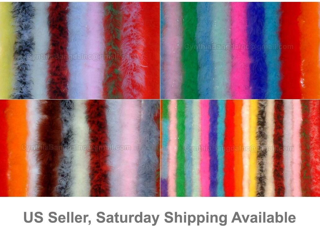 72 Long Turkey Marabou Feather Boa 22g 40+ Colors and Patterns to Pick from Red
